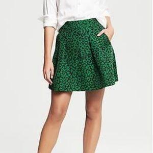 BANANA REPUBLIC Leopard Print Jacquard Green Skirt